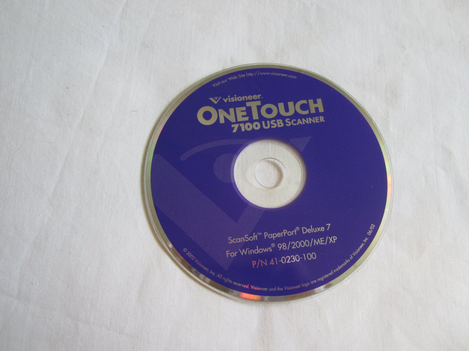 Visioneer One Touch 7100 USB Scanner CD ROM ScanSoft PaperPort Deluxe 7