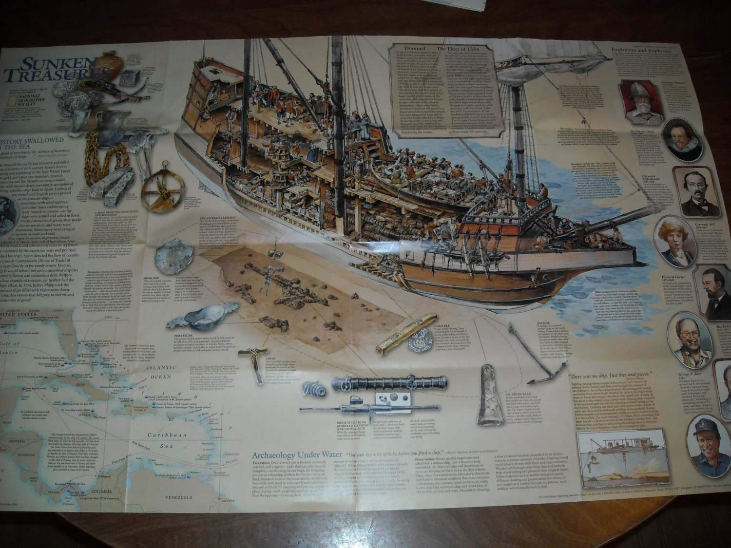 National Geographic Double sided Map Sunken Treasures (2001)