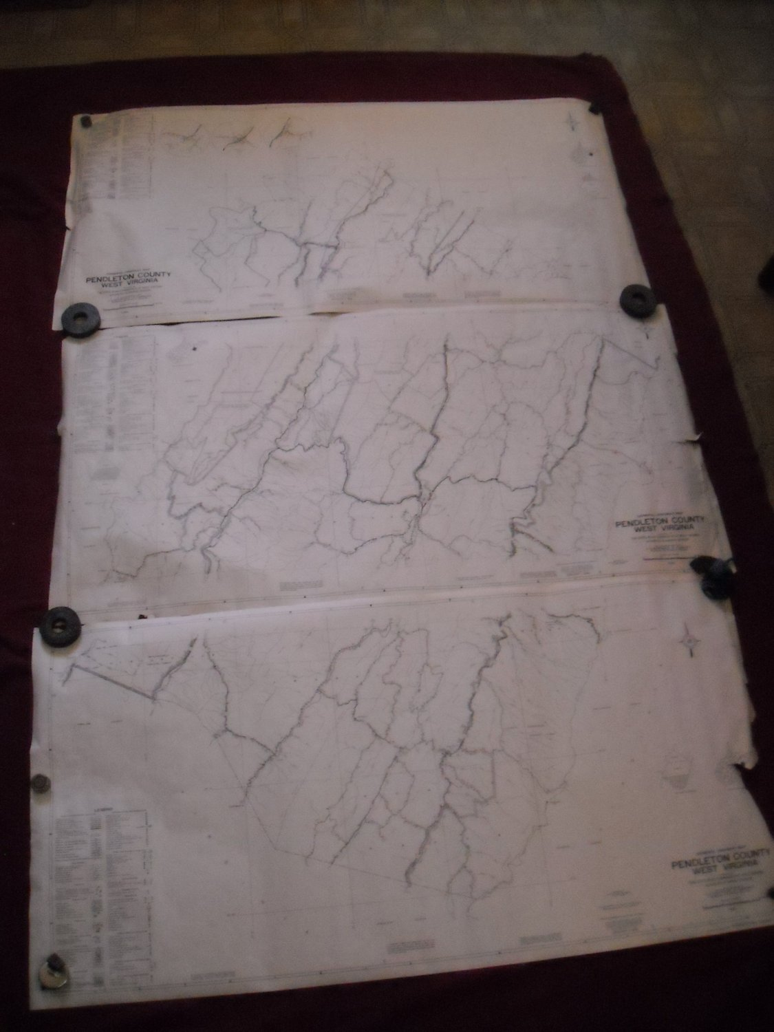 Pendleton County West Virginia 1961 set of 3 General Highway Map