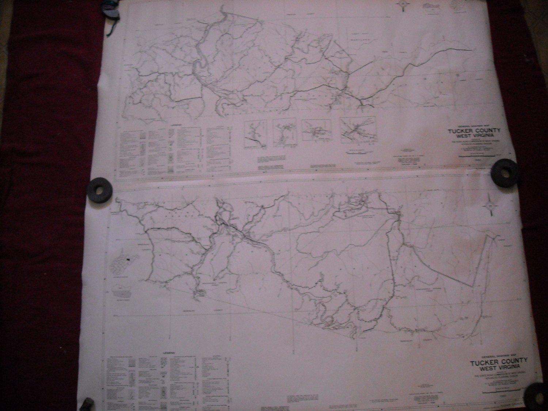 Tucker County West Virginia 1960 set of 2 General Highway Map