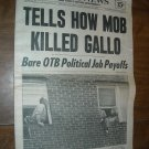 Daily News Vol 54 No 80 New York September 26, 1972 Tells How Mob Killed Gallo