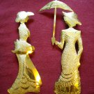 Home Interiors Gold Tone Metal Wall Hanging Ladies - Set of 2