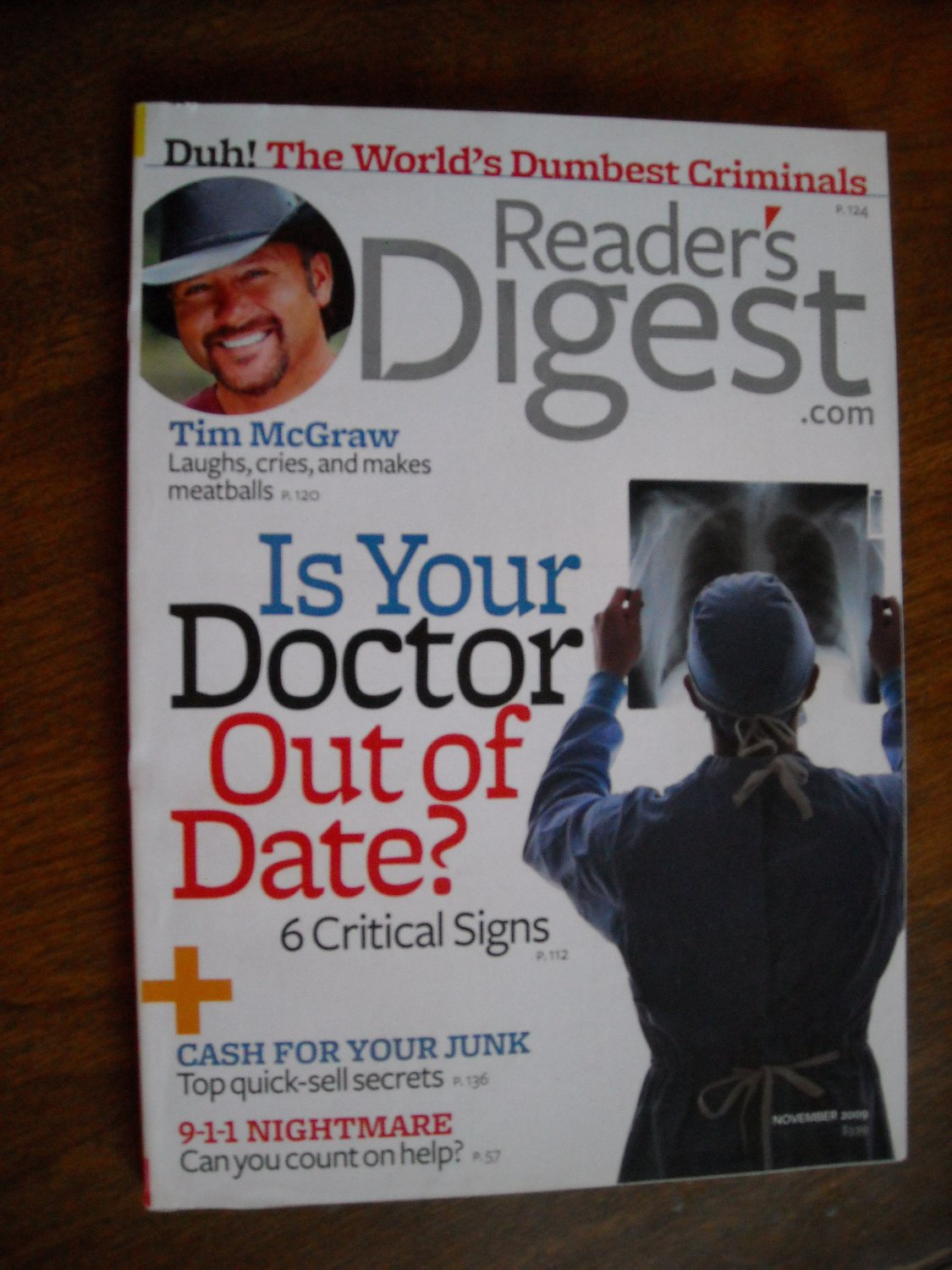 Reader's Digest Magazine November 2009 - Tim McGraw - Is Your Doctor Out of Date