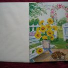 Thinking of You Greeting Card - Cat Sleeping under Sunflowers and Gazebo with Flowers