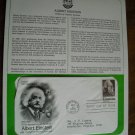 Albert Einstein 1979 Postal Commemorative Society First Day Cover Sheet