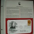 Honoring Joseph Priestly 1983 Postal Commemorative Society First Day Cover Sheet