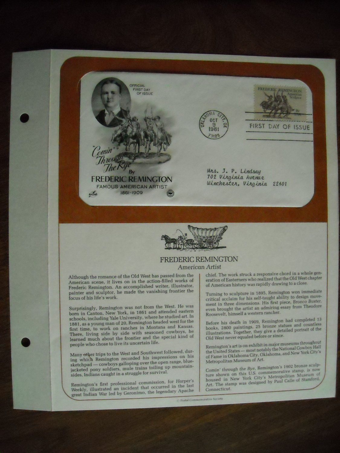 Frederic Remington American Artist 1981 Postal Commemorative Society First Day Cover Sheet