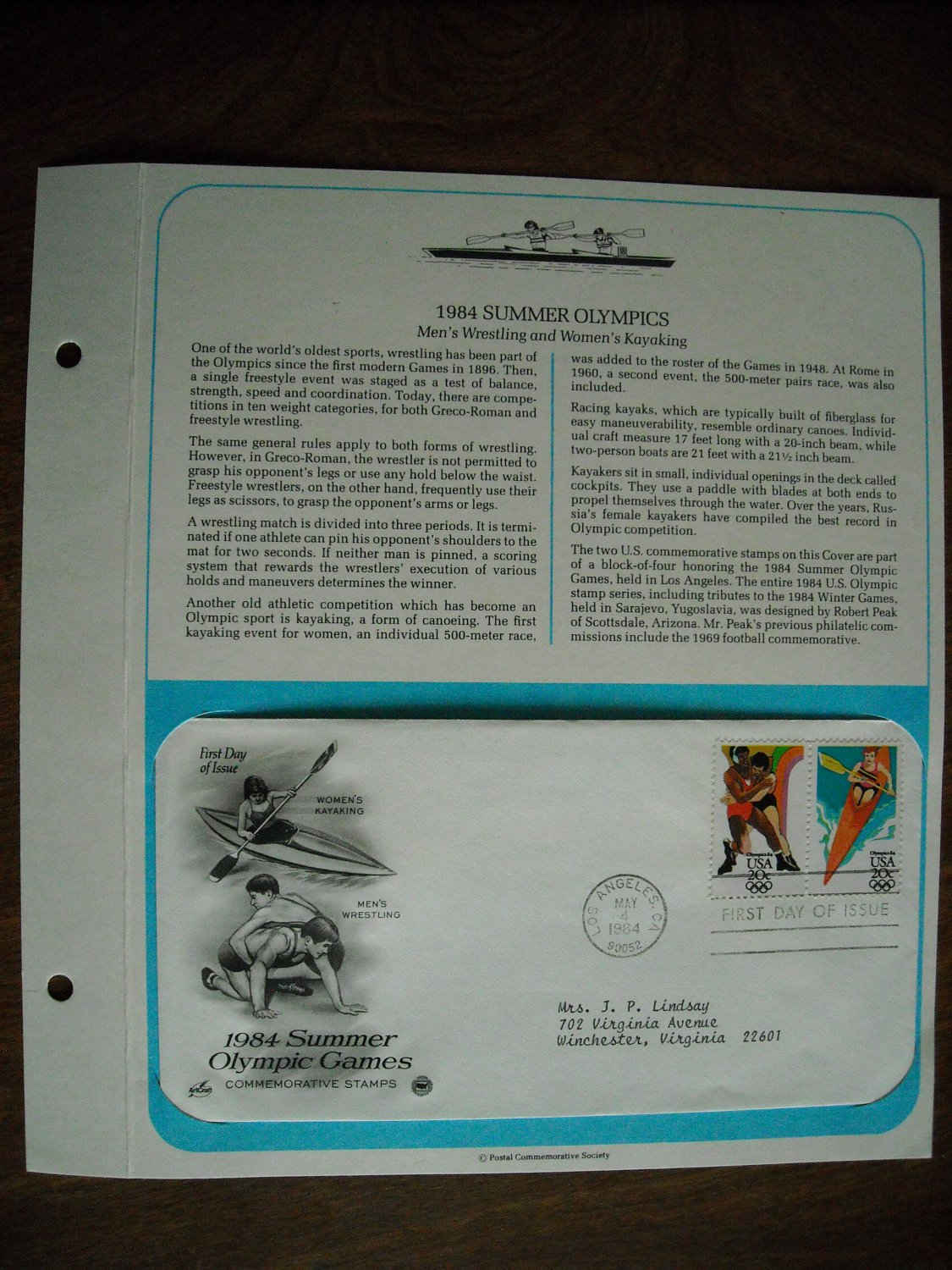 Summer Olympic Games Women's Kayaking Men's Wrestling 1984 Commemorative Society First Day Cover