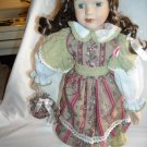 "Porcelain Doll with Stand in Flowered and Striped Dress Auburn Hair 15"" Tall"