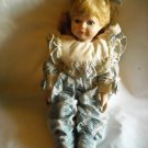 "Porcelain Doll with Stand in Blue Striped and Plaid outfit 13"" Tall"