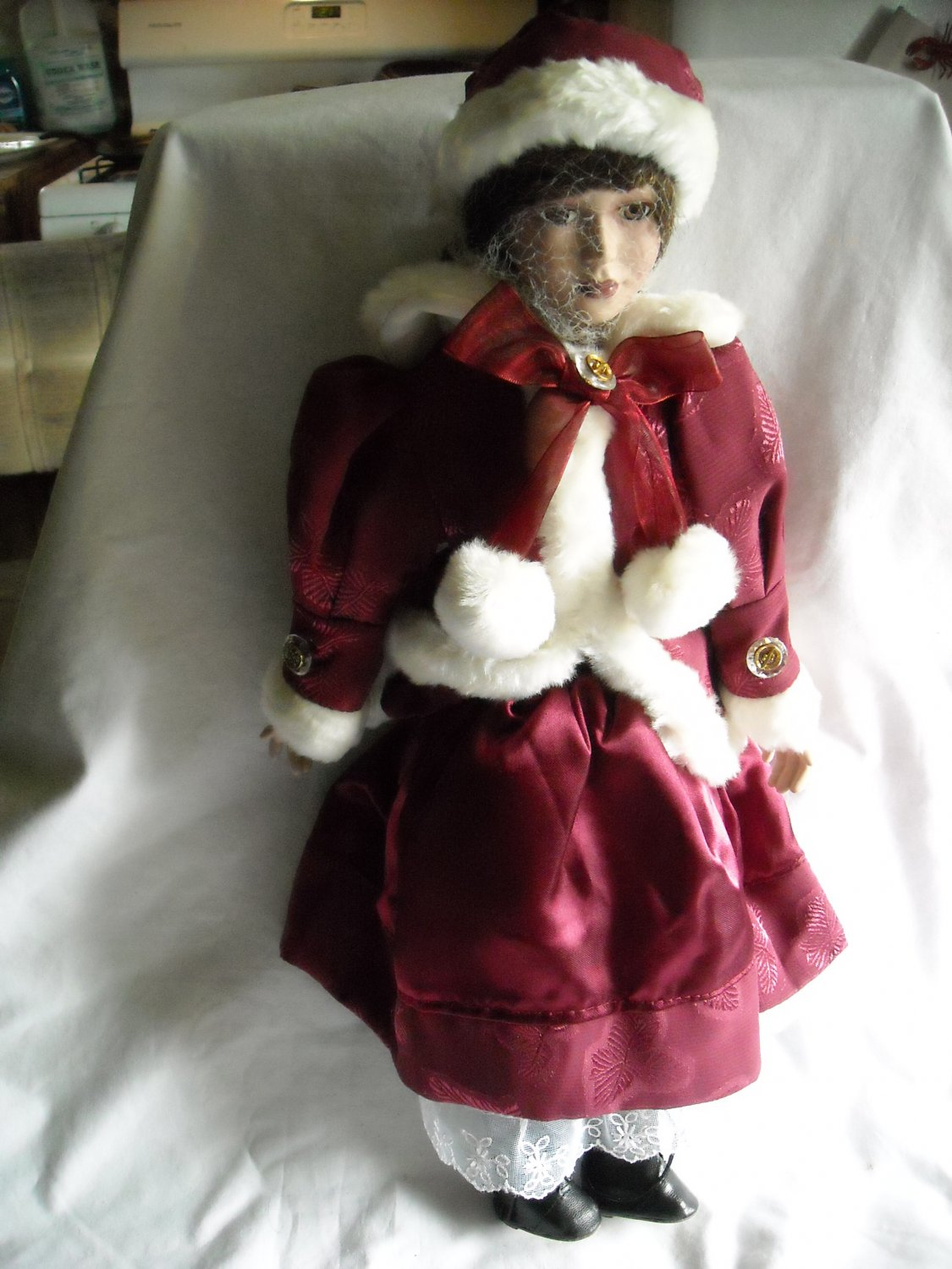 "Christmas Porcelain Doll in Maroon and White Outfit 18"" tall"