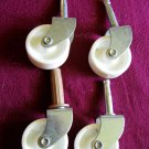 Set of 4 Plate and Stem Roller Casters / Wheels Metal with White Rollers (BP5)