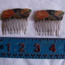 Pair of Vintage Cloisonne Enamel & Brass Hair-Comb With Rose and Butterfly Multi Color (wtn247)