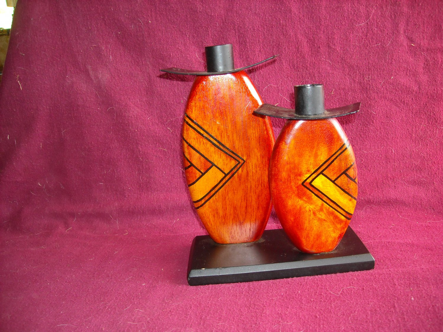 Wood Double Taper Candle Holder with Designs and Black Base Home Decor
