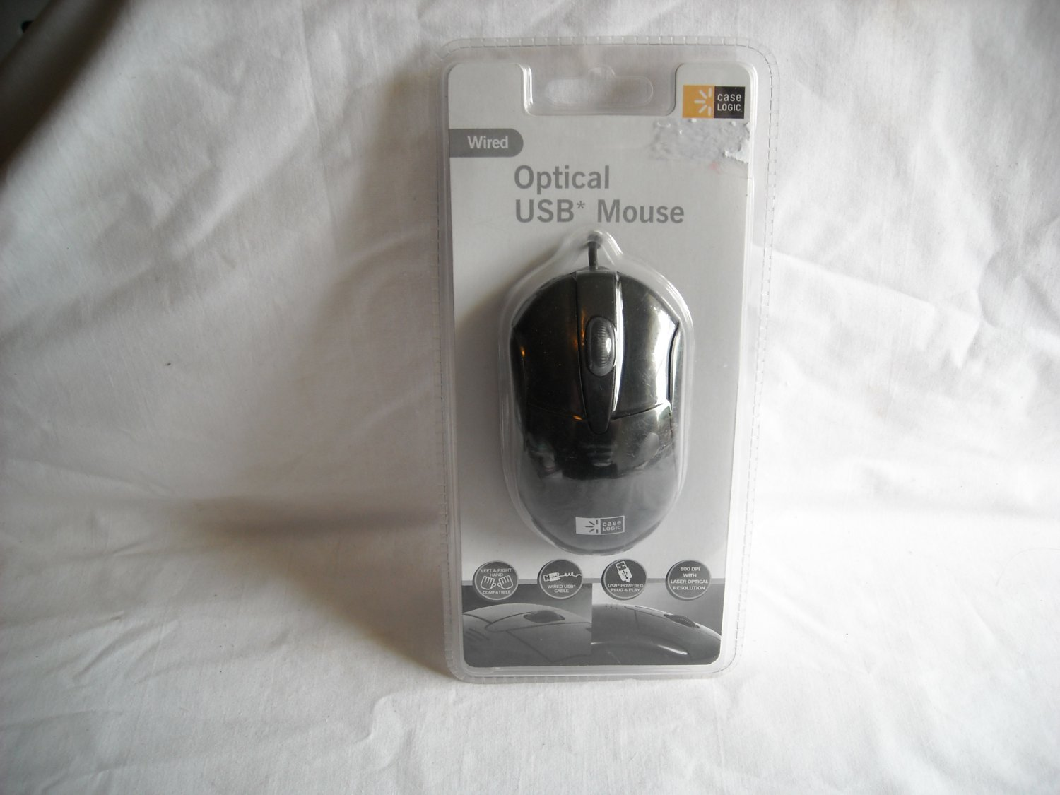 Case Logic Optical USB Mouse Wired  800 DPI Black- NIP Left & Right Hand Compatible
