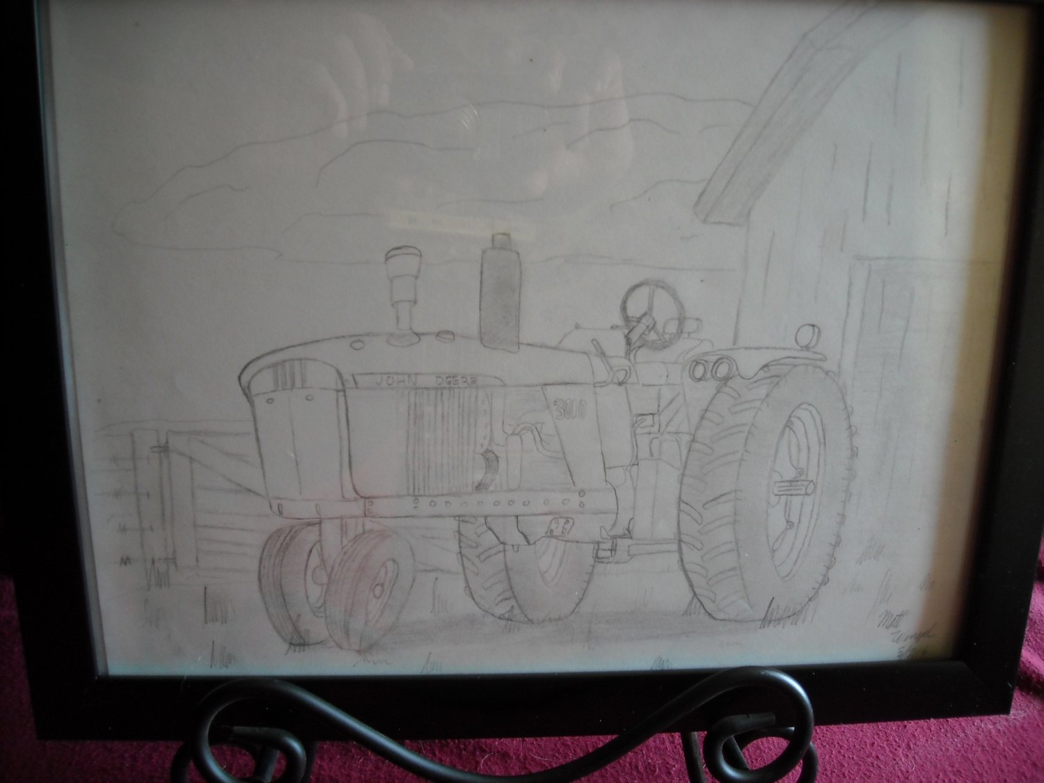 Hand Drawn in Pencil John Deere 3010 Tractor Art by Matt Wenzel
