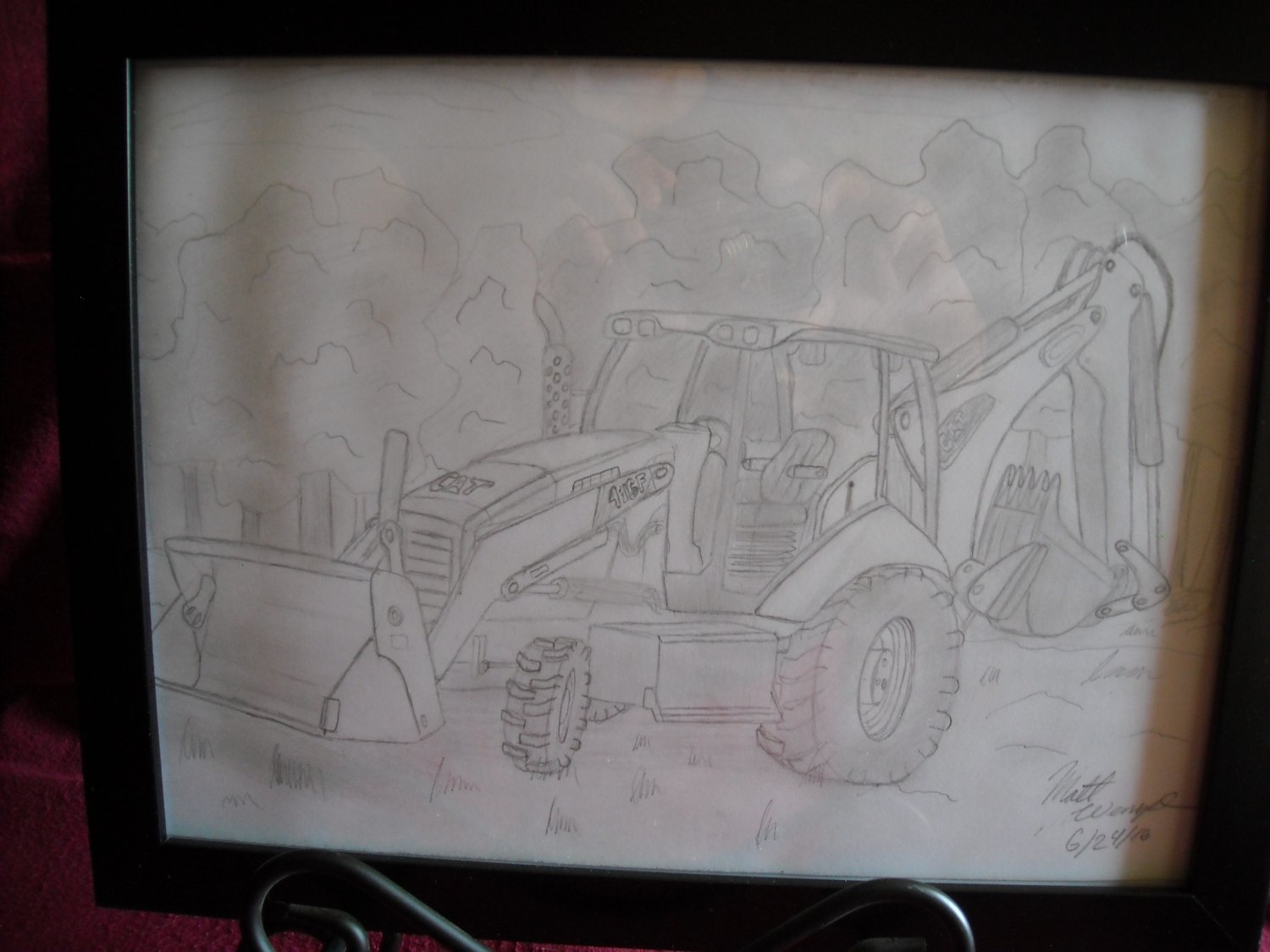 "Hand Drawn in Pencil Cat Caterpillar 416F Backhoe 9 x 12"" Art by Matt Wenzel"