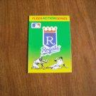 Fleer Action Series Kansas City Royals Baseball Quiz on Back 1990 Fleer Baseball Card (BCQ1)