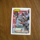 James Brooks 1000 Yard Club Rushing Cincinnati Bengals Card No 18 - Topps 1991 Football Card