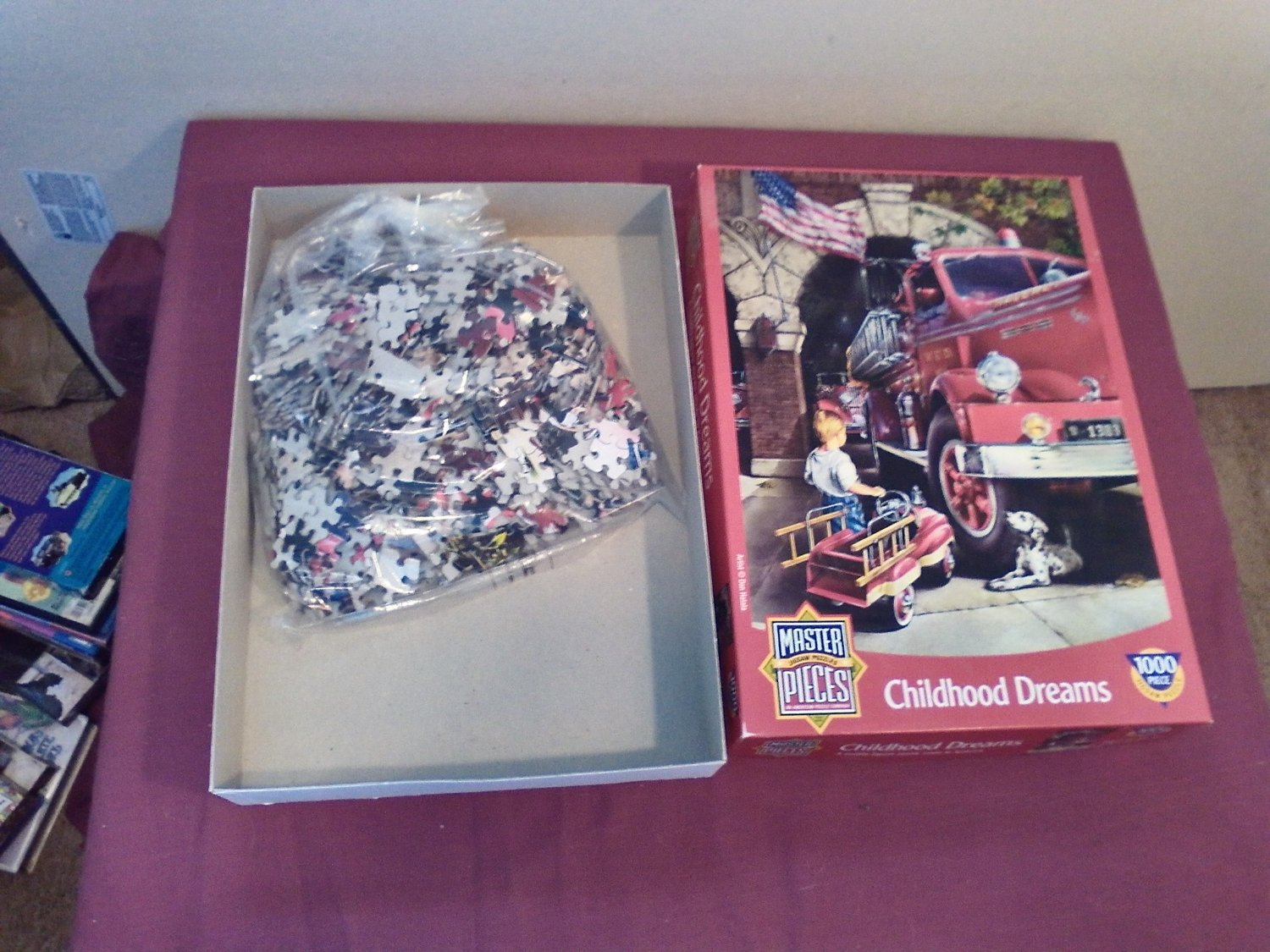 Jigsaw Puzzle Childhood Dreams Fire Truck Boy Dalmatian Dog 1000 Piece (mw)