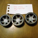 """KNEX 6 pc - Black 2"""" Black Tire with Gray Snap on Hub Whell Insert 1.5"""" Part No. 91174"""