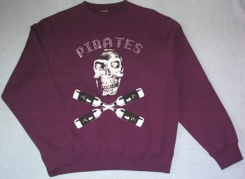 Men's Fleece Crewneck Sweatshirt Both Side with SKULL Patterns