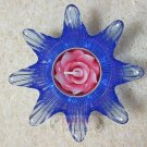 Flower Blue Glass put candle