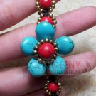 Blue flower stone bracelet by handmade