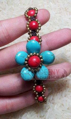 Blue flower stone bracelet by handmade