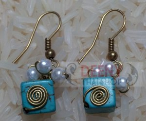 Blue square stones earring by handmade