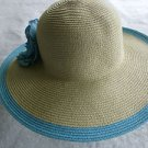 CROFT & BARROW NATURAL & AQUA FLOPPY WIDE BRIM PACKABLE HAT ONE SIZE NEW