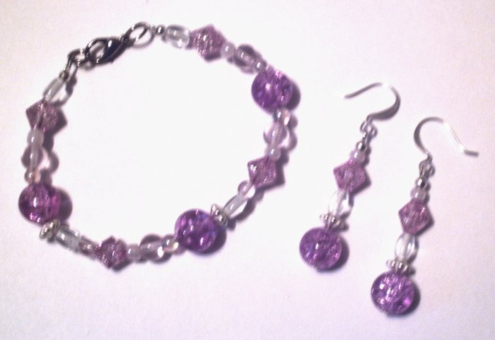 Purple Crackle Bracelet & Earring Set