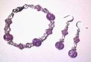 Purple Crackle Bracelet & Earring Set