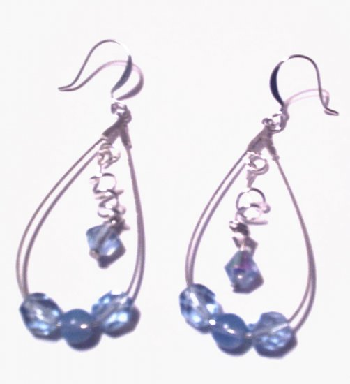 Light Sapphire Curled Dangle Hoops