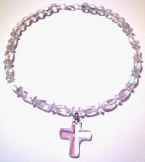Clear Chunky Cross Necklace