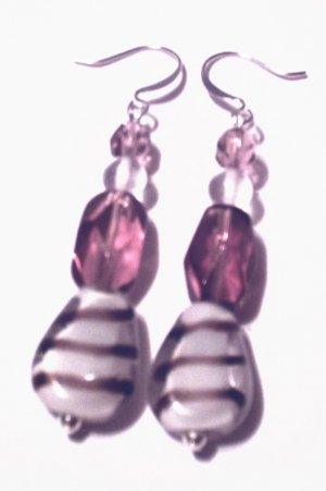 Lavender Stripe Earrings