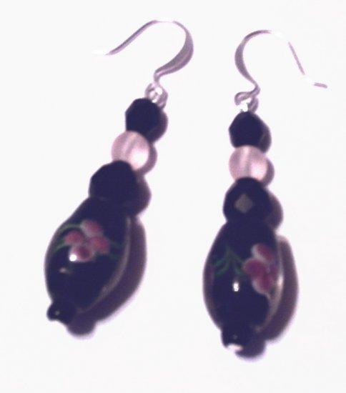 Black & Pink Floral Earrings