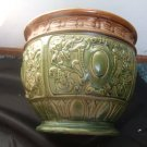 Old Majolica Jardaniere Type Pot Brown And Green 7 Inches Tall