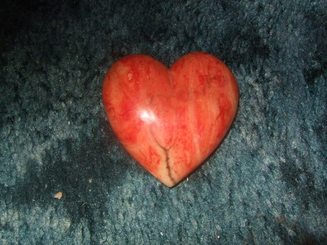 Alabaster Heart Hand Carved Made In Italy 2.25 Inches Wide