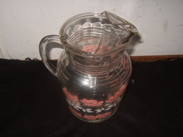 Decorative 70's Glass Pitcher Pink And White Floral Pattern