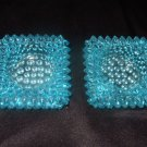 2 Hobnail Fenton Ashtrays Light Blue 2.75 Inches Square