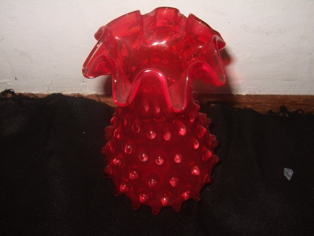 Beautiful Fenton Cranberry Hobnail Vase 5.75 Inches Tall