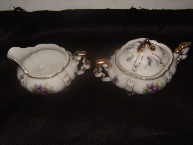 Sweet Violet Gold Trimmed And Numbered Cream And Sugar Set