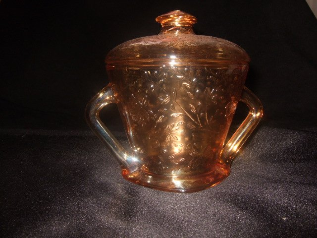 Orange Depression Glass Sugar Holder 4.5 Inches Tall