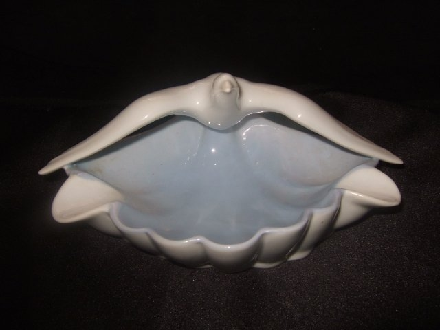 West German Bavarian Seagull Ashtray White/Light Blue