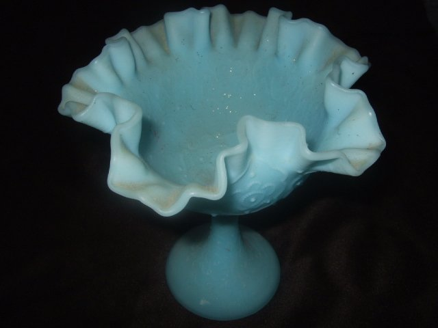 Powder Blue Fenton? Milk Glass Upright Candy Dish