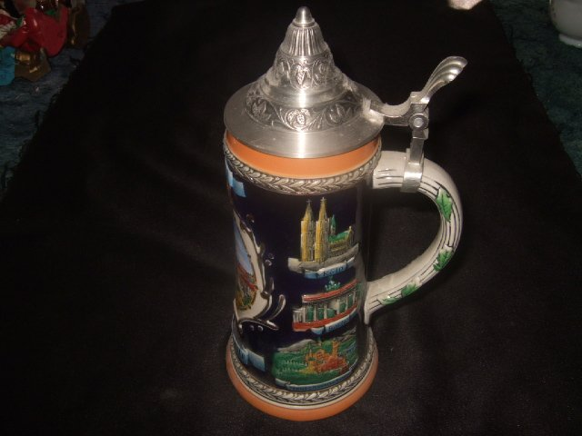 Large German Kaiserlautern Beer Stein 10.5 Inches Tall