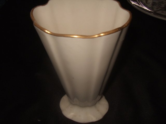 Tall Lenox Off-White Vase With Gold Trim 7 Inches