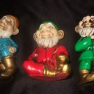 Set Of 3 Colorful Gnomes Made In Japan