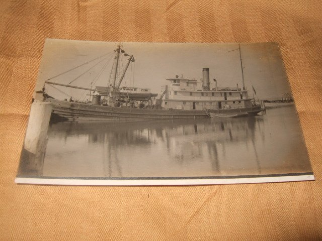 Lovely Black And White Ship Postcard From 1910's